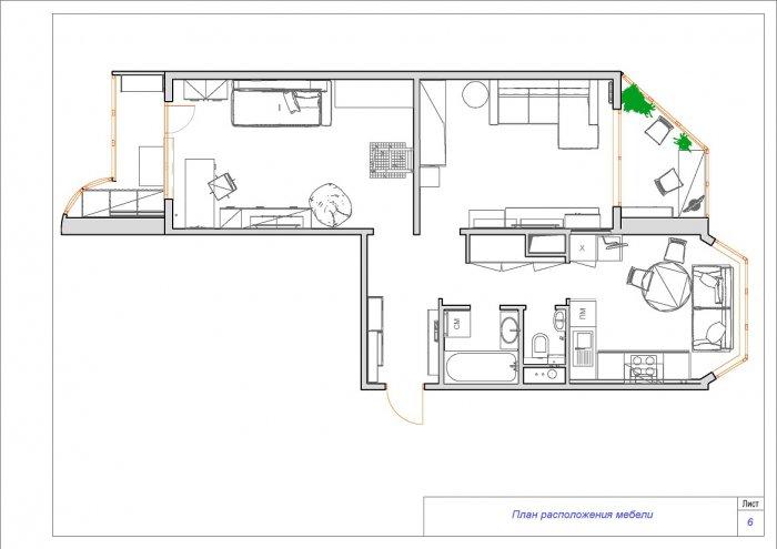 Дизайн в 2 комнатной квартире п44т