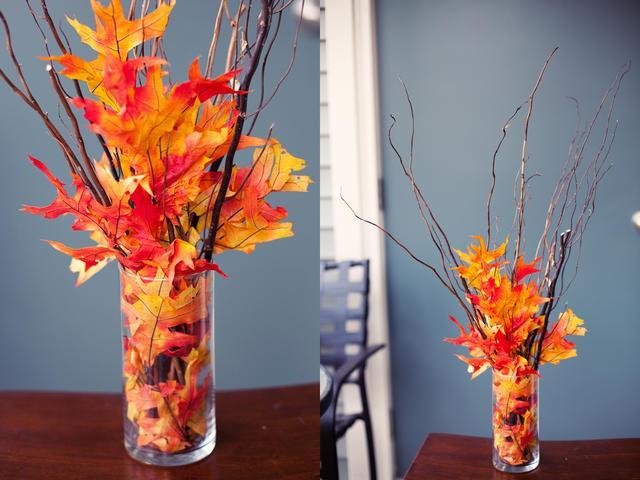 Осенние листья в интерьере фото