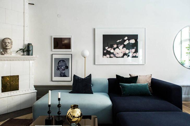 Современная квартира в 100-летнем доме в Стокгольме