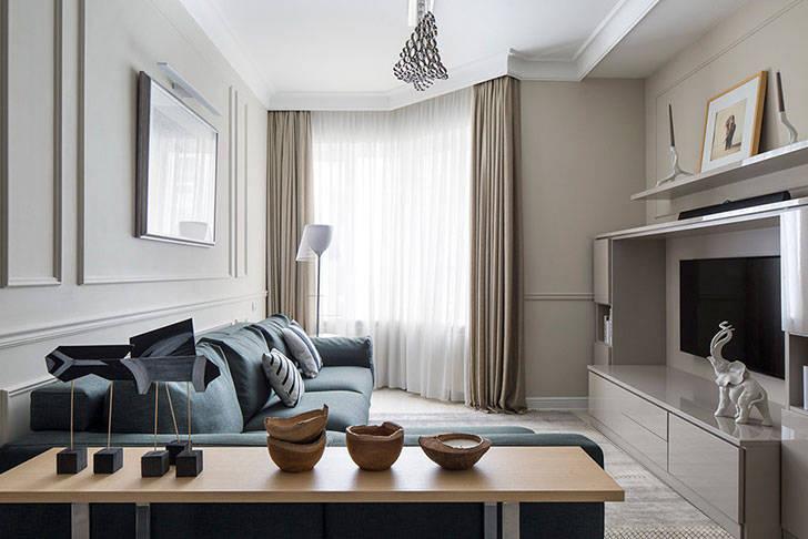 Квартира в спокойных тонах для девушки в Москве (84 кв. м)