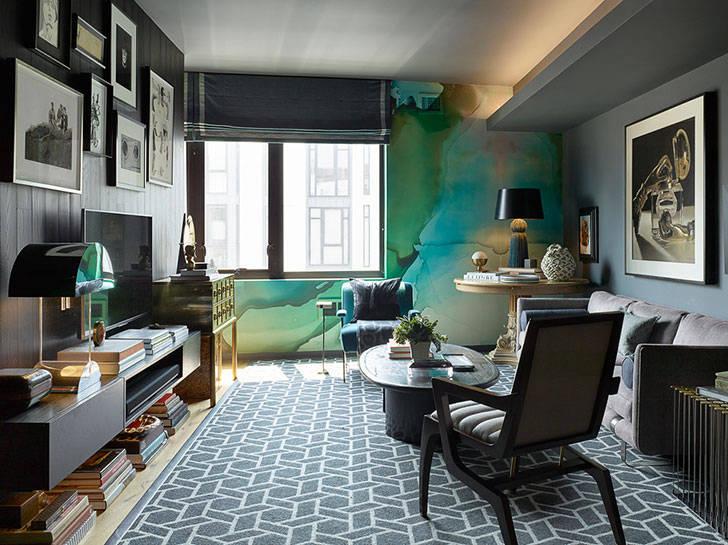 Небольшая квартира дизайнера с драматичными интерьерами в Лос-Анджелесе