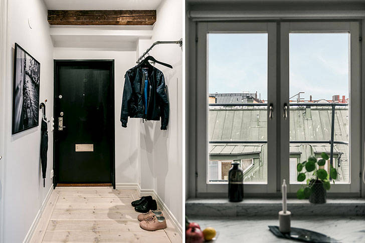 Оттенки зеленого в интерьере квартиры на последнем этаже (65 кв. м)