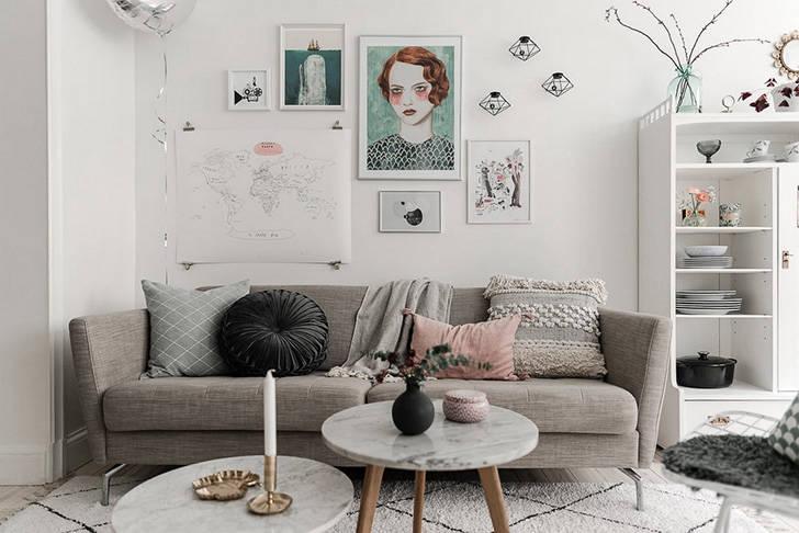 Шведская квартира с пастельными деталями (43 кв. м)