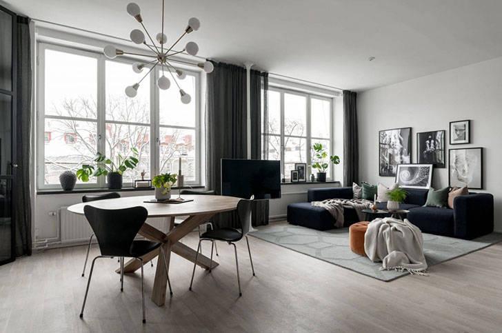 Шведская квартира со спальнями за стеклянными перегородками