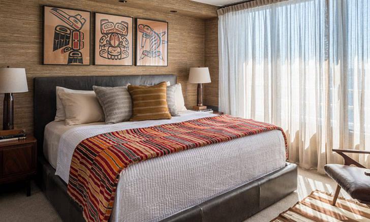 Стильная холостяцкая квартира с видом на залив в Сиэтле