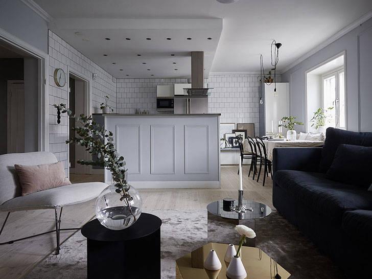 Кухня как в ресторане и красивая гамма: необычная квартира в Стокгольме
