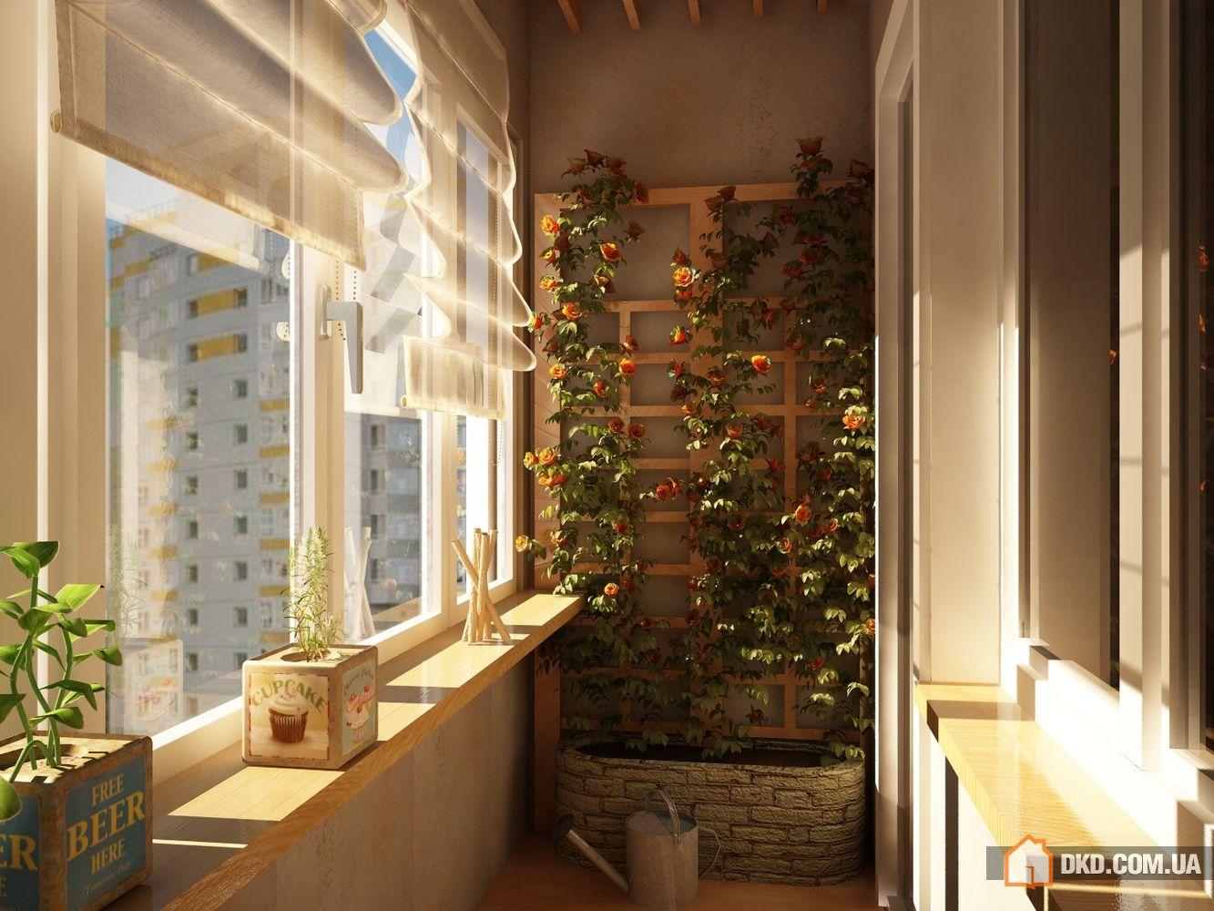 Оформление балкона растениями.