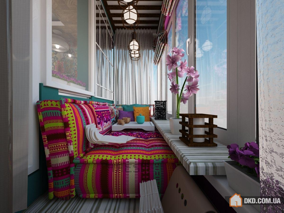 Дизайн лоджии в восточном стиле фото. - балконный блок - кат.
