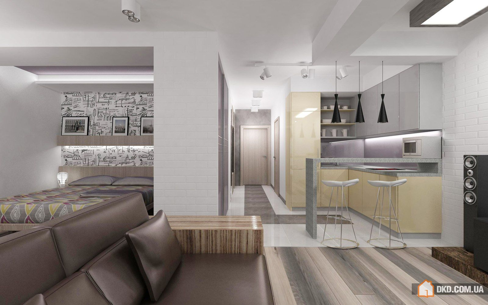 Дизайн однокомнатной хрущевки: квартира 40 кв.м. на фото
