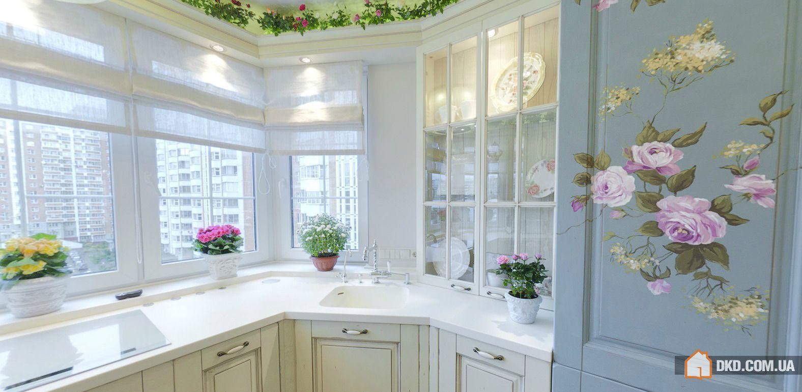 Оформление кухонной зоны в стиле летней веранды.