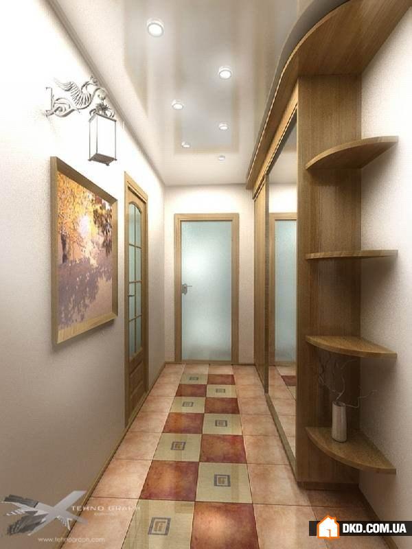 прихожая в длинный коридор дизайн фото в квартире #10