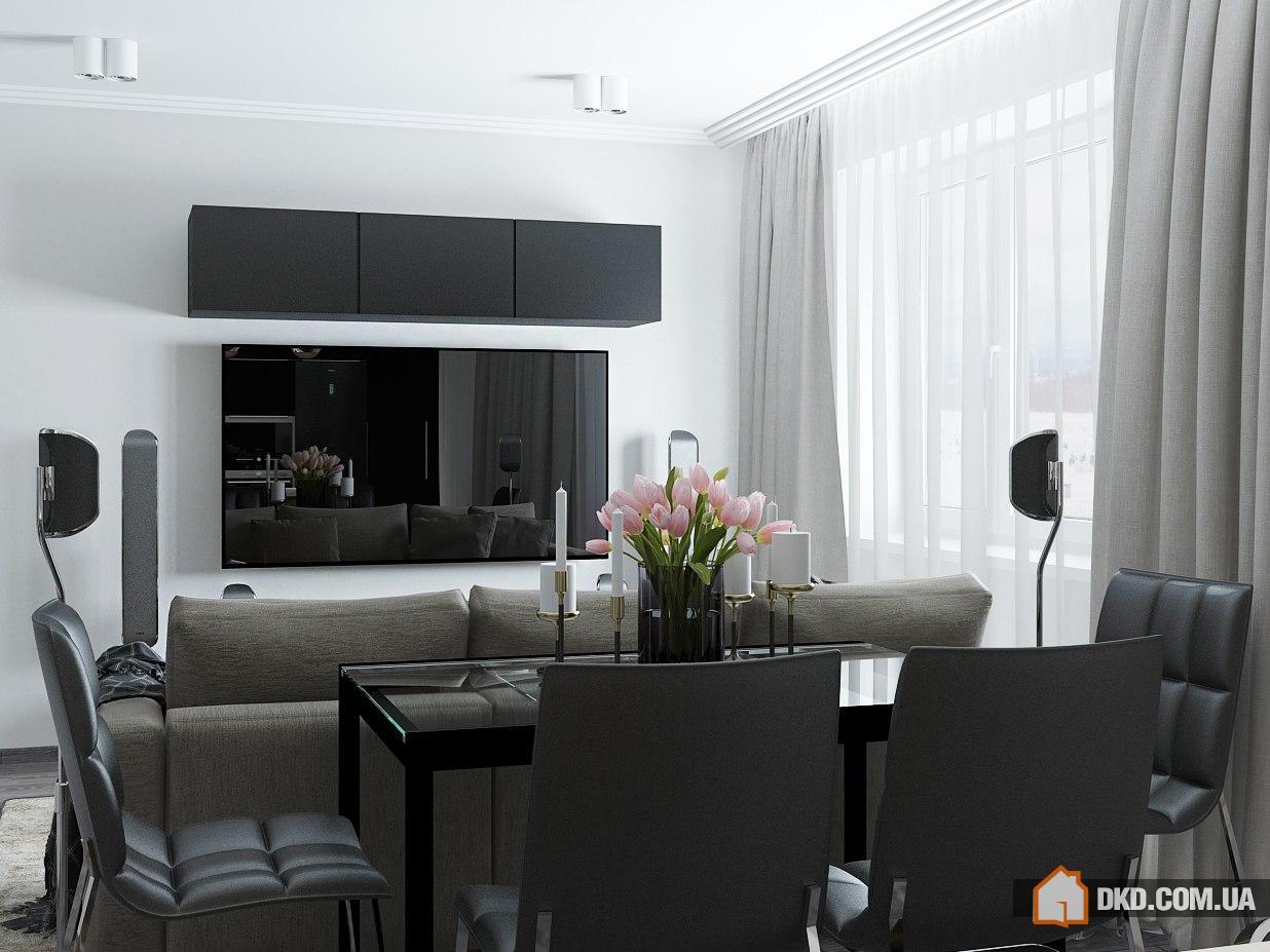 Кухня-гостиная в Чебоксарах от студии А+Б